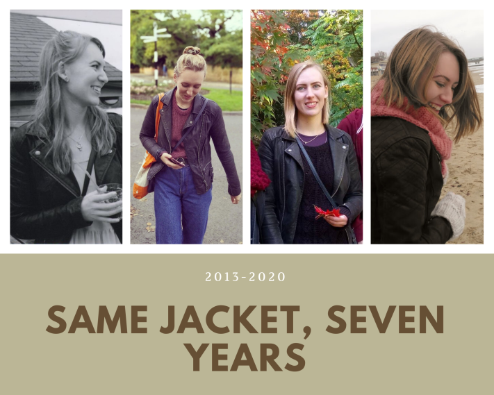 Same jacket, seven years: Four photos of Freya wearing the same black jacket on four different occasions.